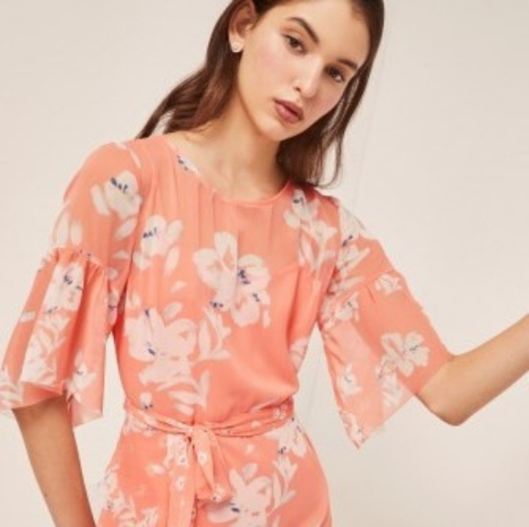 🌼 French Connection peach floral dress